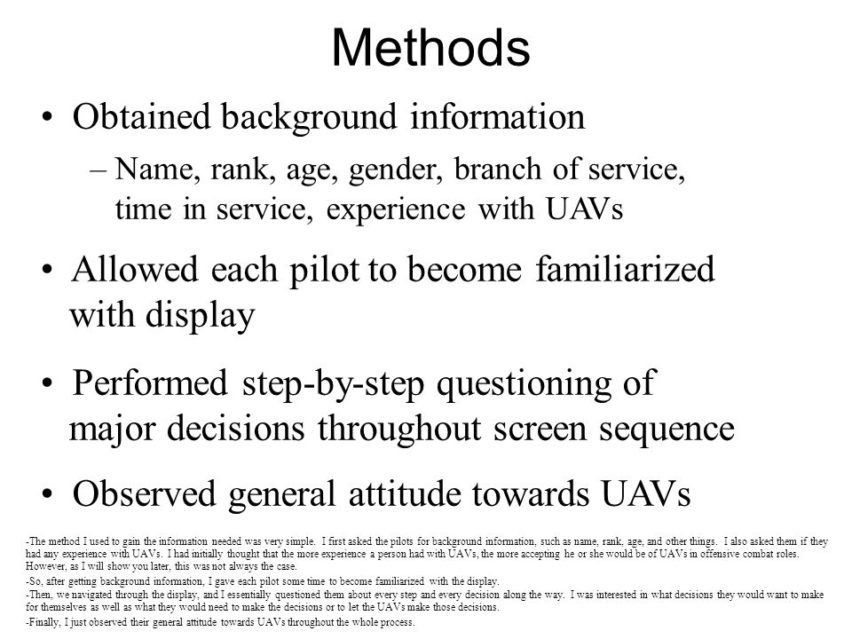 Methods Obtained background information