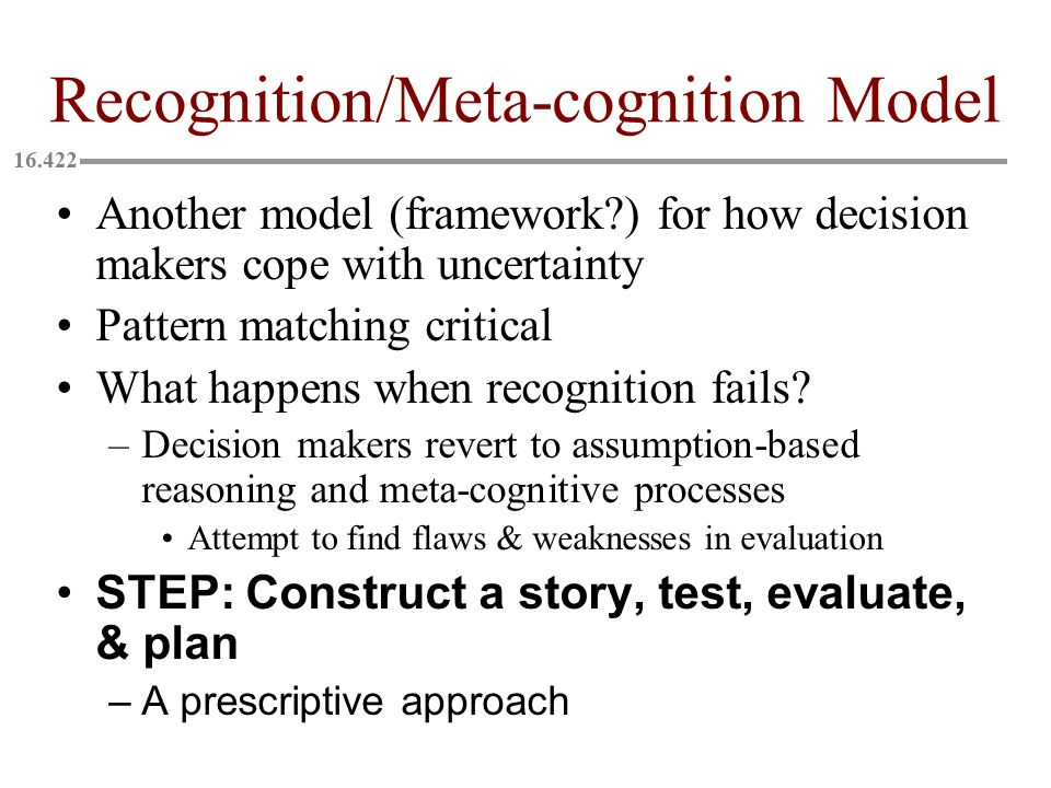 Recognition/Meta-cognition Model