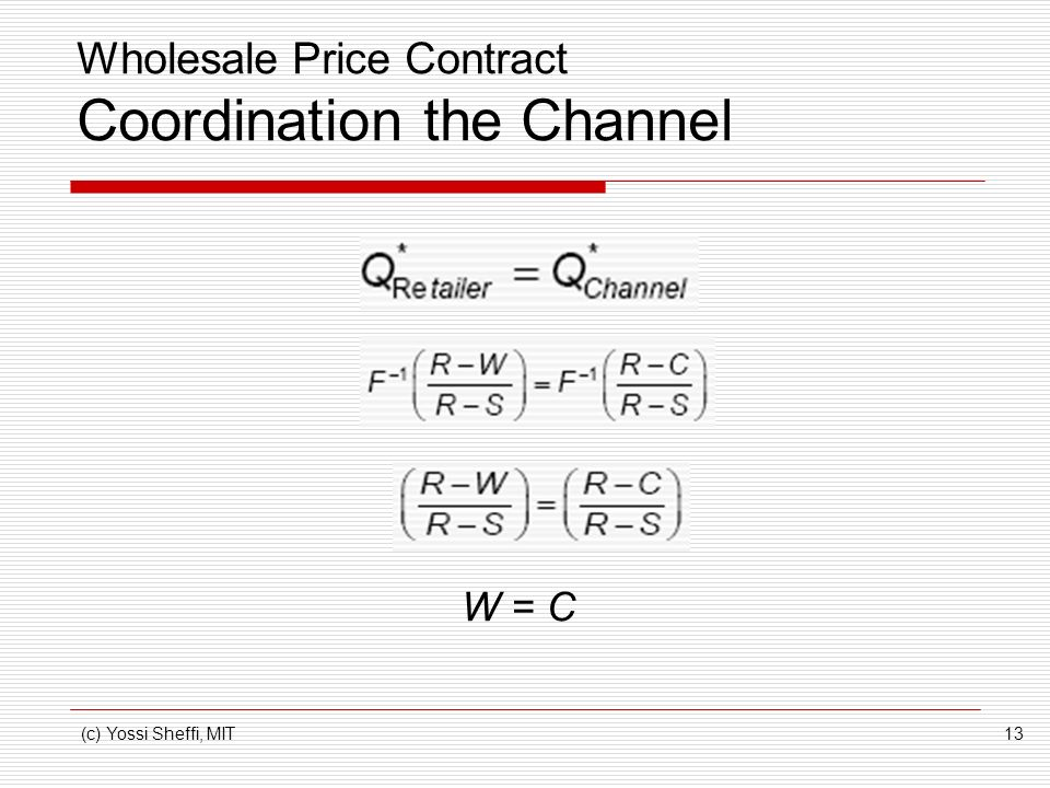 Wholesale Price Contract Coordination the Channel