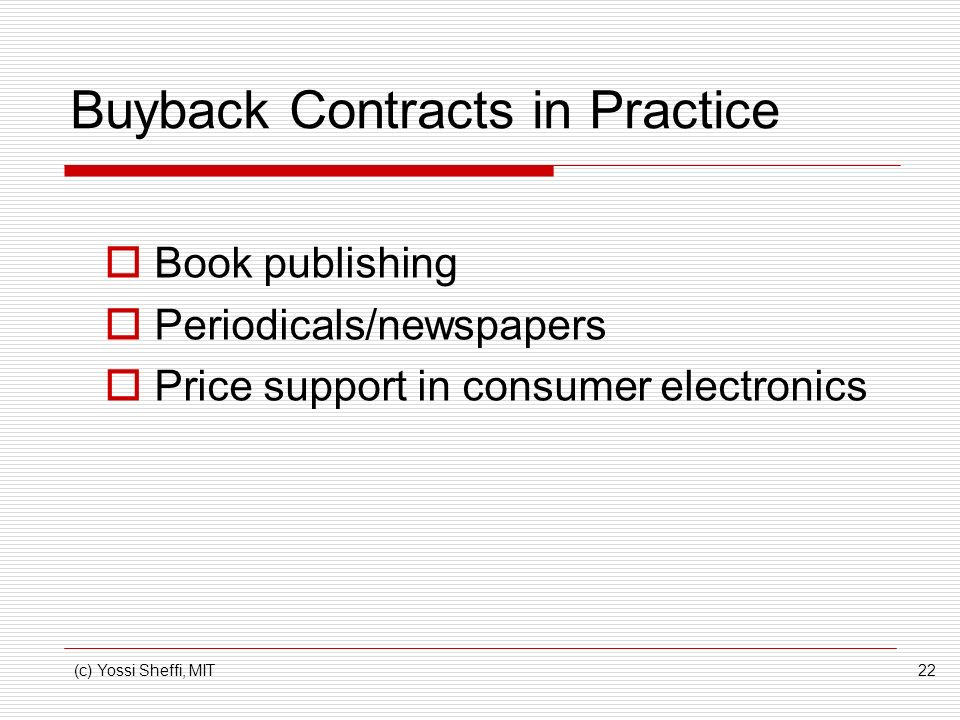 Buyback Contracts in Practice