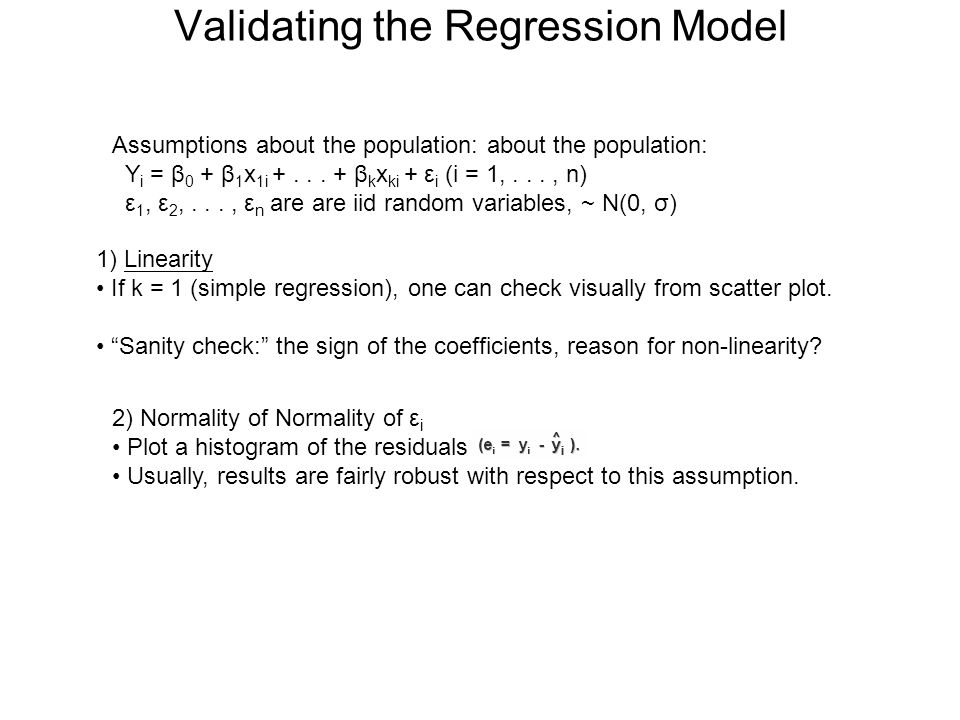 Validating the Regression Model