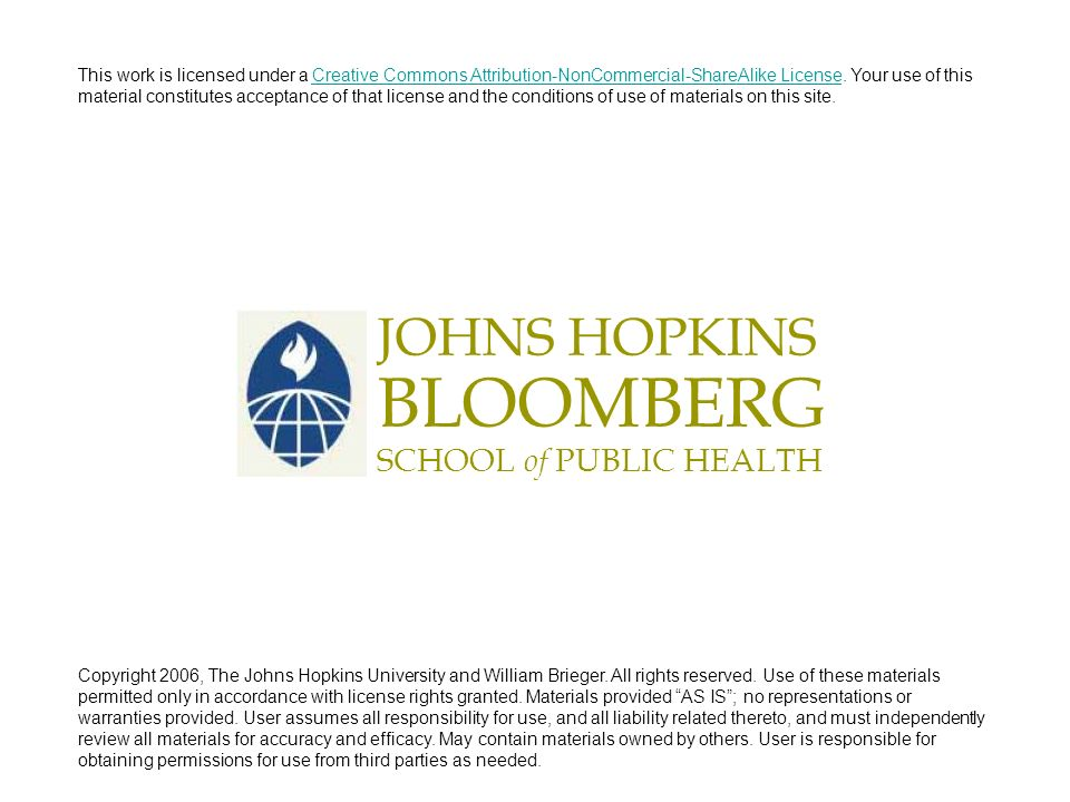 BLOOMBERG JOHNS HOPKINS SCHOOL of PUBLIC HEALTH