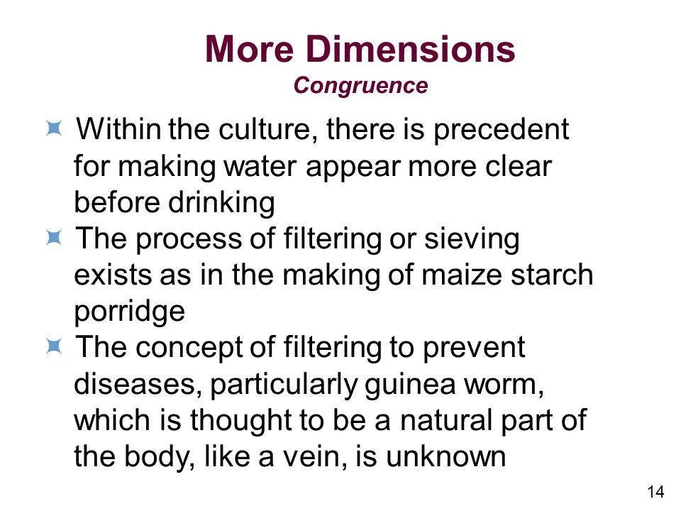 More Dimensions  Within the culture, there is precedent