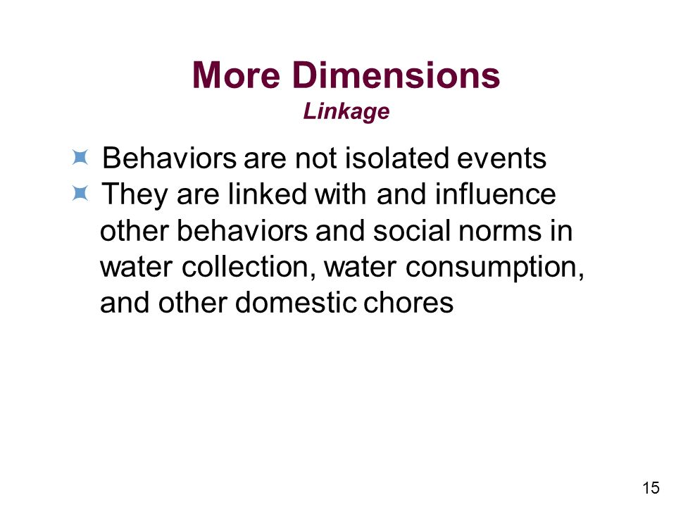 More Dimensions  Behaviors are not isolated events