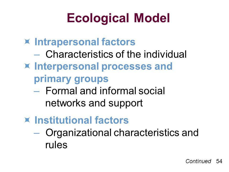 Ecological Model  Intrapersonal factors