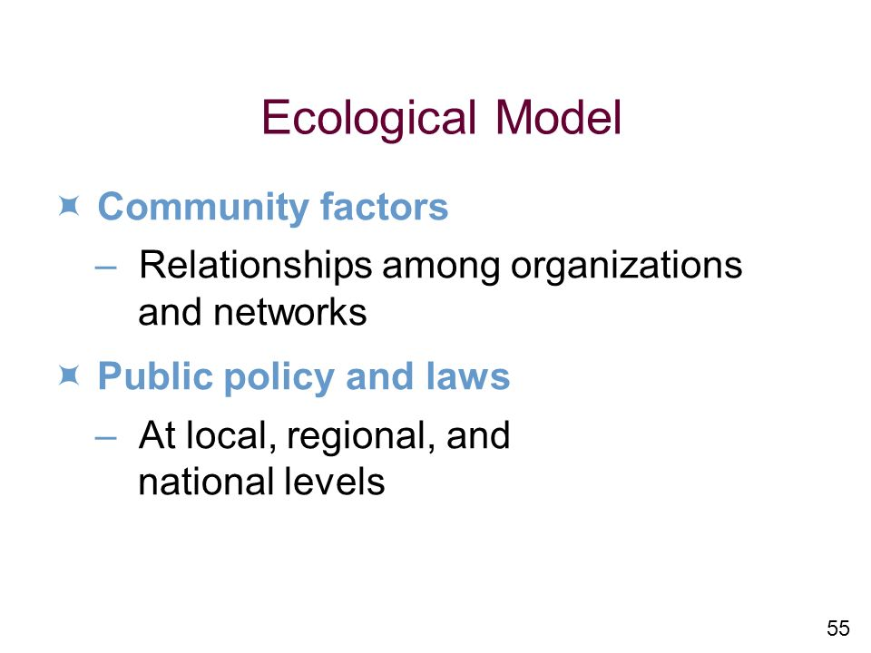 Ecological Model  Community factors