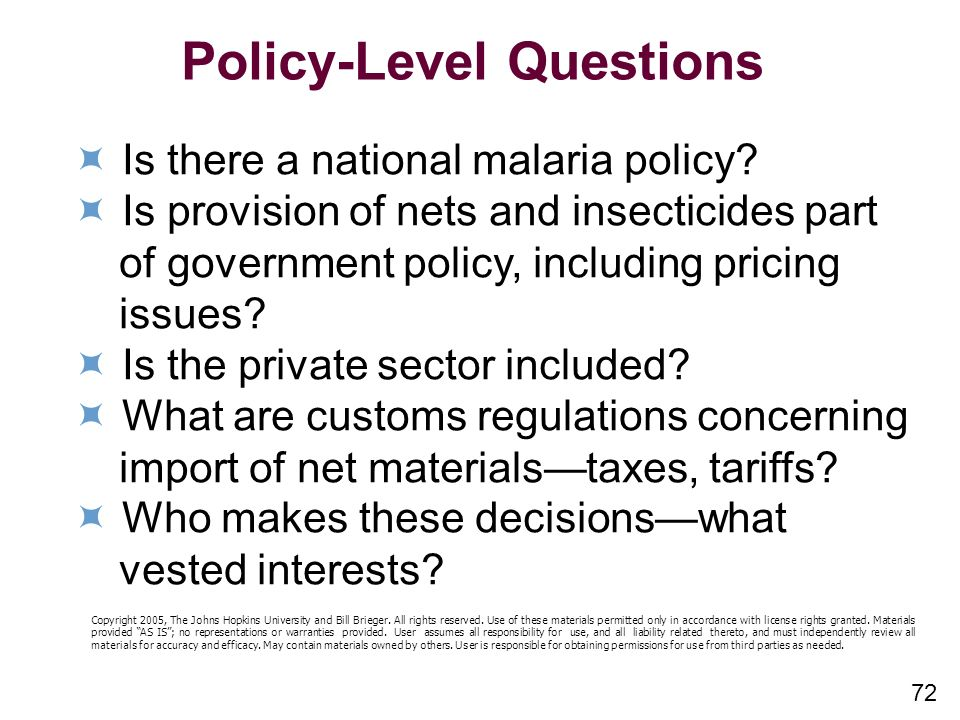 Policy-Level Questions