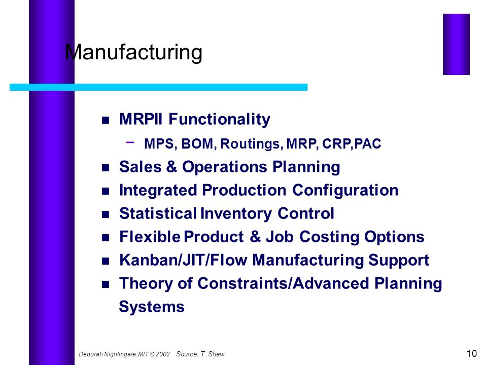 Manufacturing − MPS, BOM, Routings, MRP, CRP,PAC MRPII Functionality