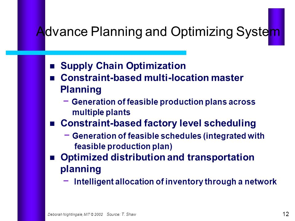 Advance Planning and Optimizing System