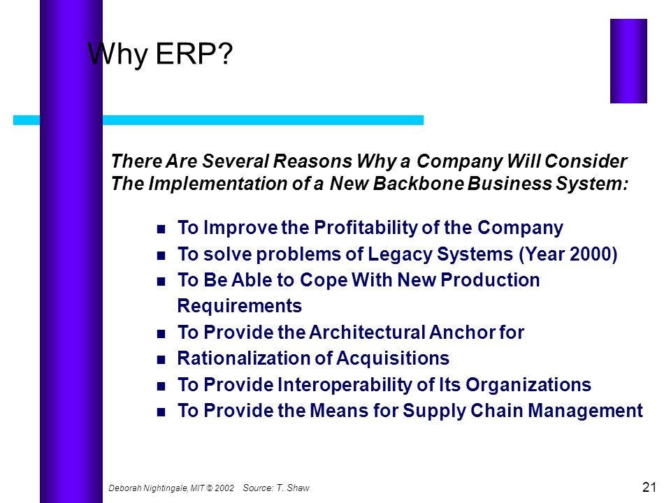 Why ERP There Are Several Reasons Why a Company Will Consider