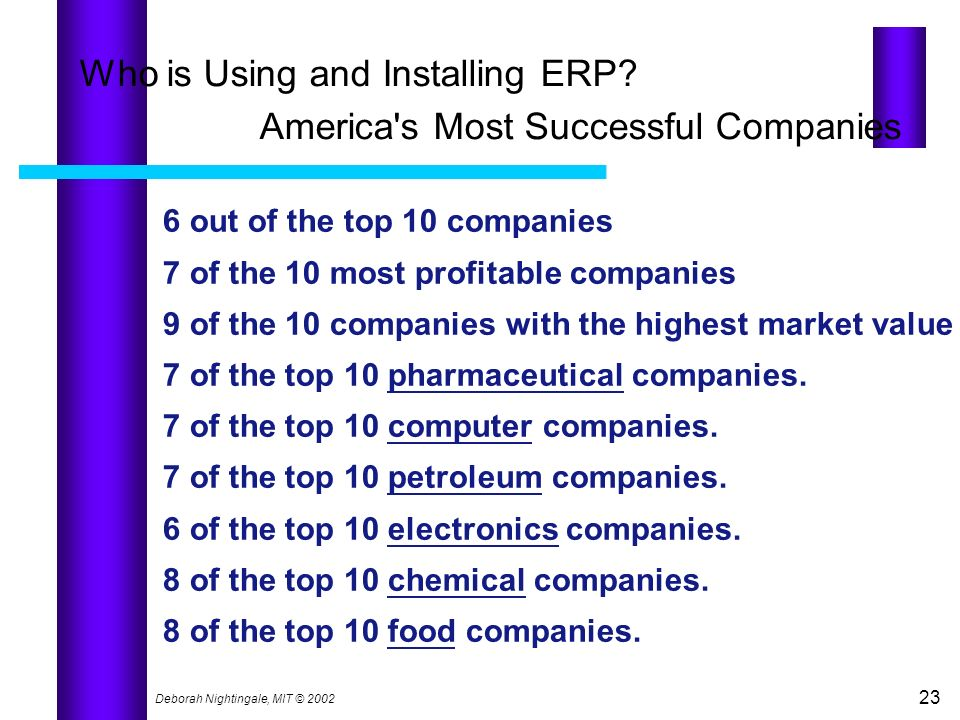 Who is Using and Installing ERP America s Most Successful Companies