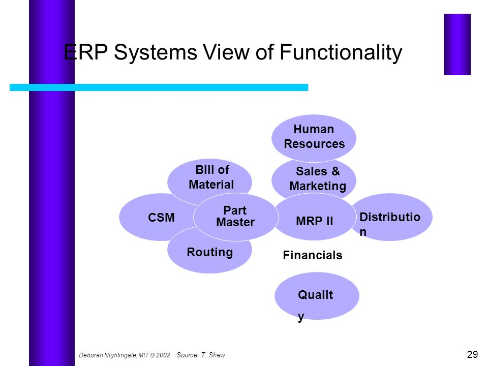 ERP Systems View of Functionality