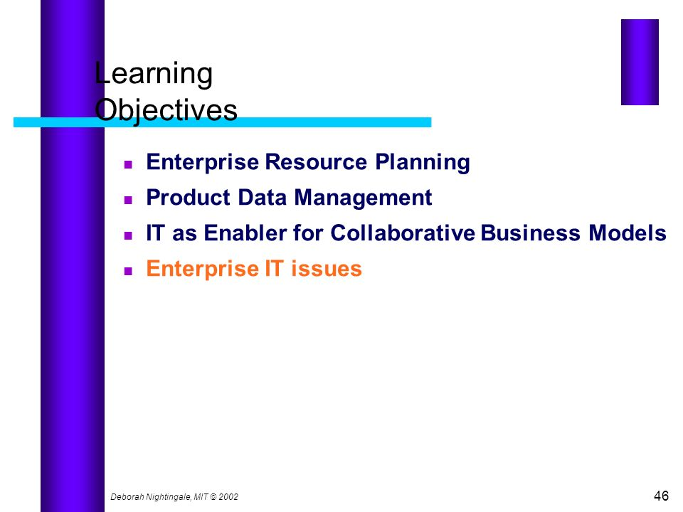 Learning Objectives Enterprise Resource Planning
