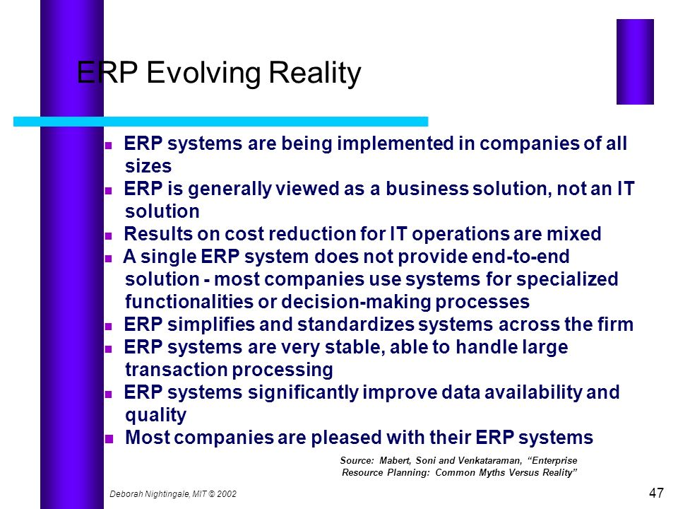 ERP Evolving Reality ERP systems are being implemented in companies of all. sizes. ERP is generally viewed as a business solution, not an IT.