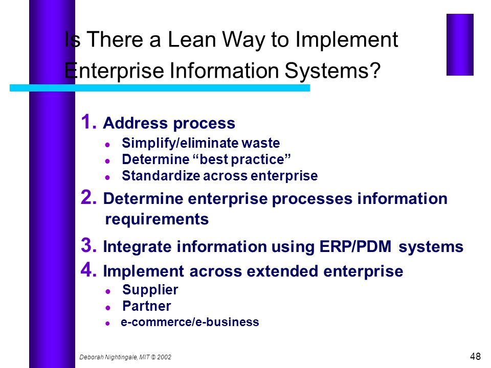 Is There a Lean Way to Implement Enterprise Information Systems