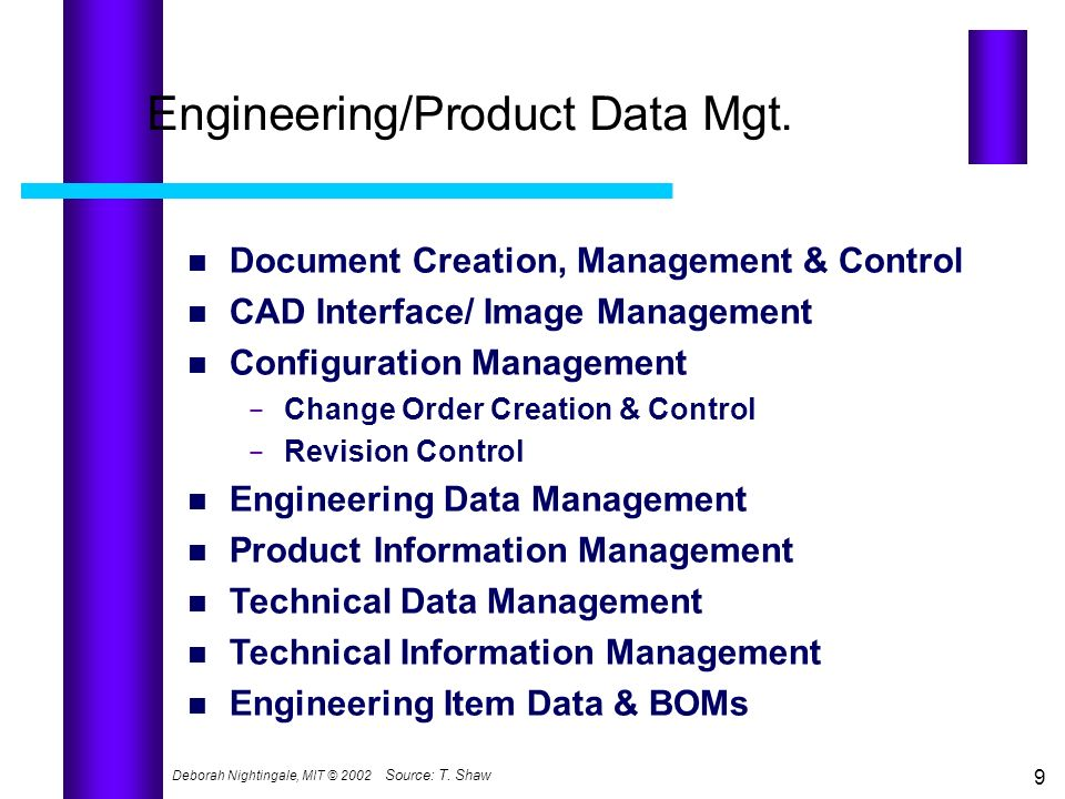 Engineering/Product Data Mgt.