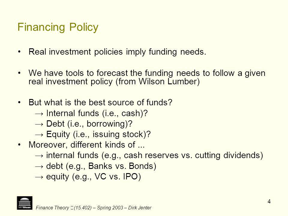 Financing Policy Real investment policies imply funding needs.