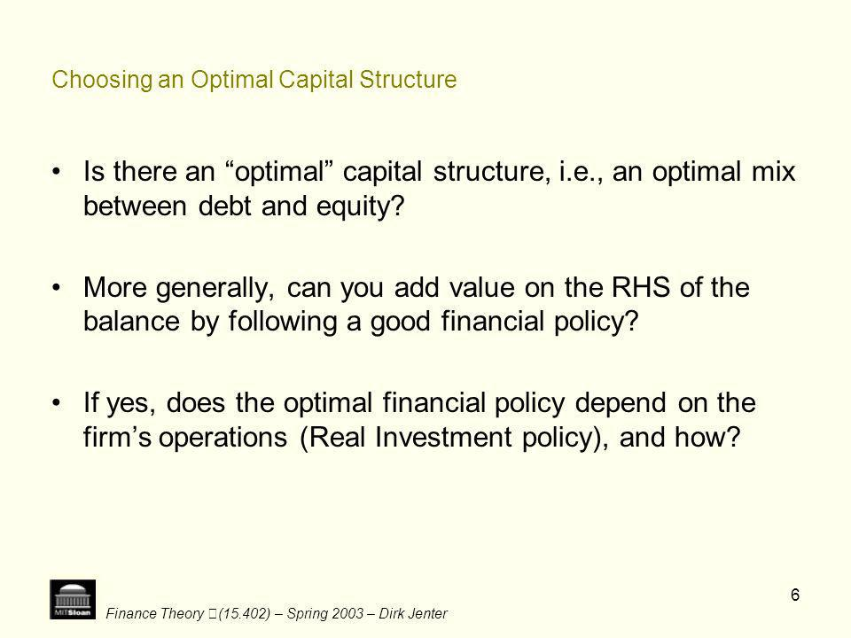 Choosing an Optimal Capital Structure