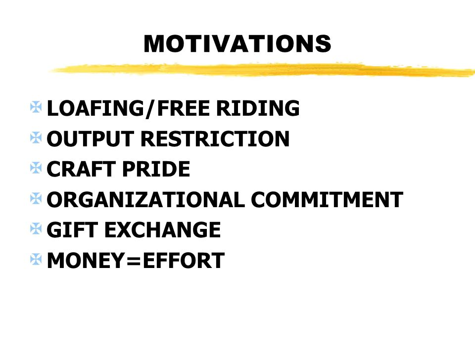 MOTIVATIONS LOAFING/FREE RIDING OUTPUT RESTRICTION CRAFT PRIDE