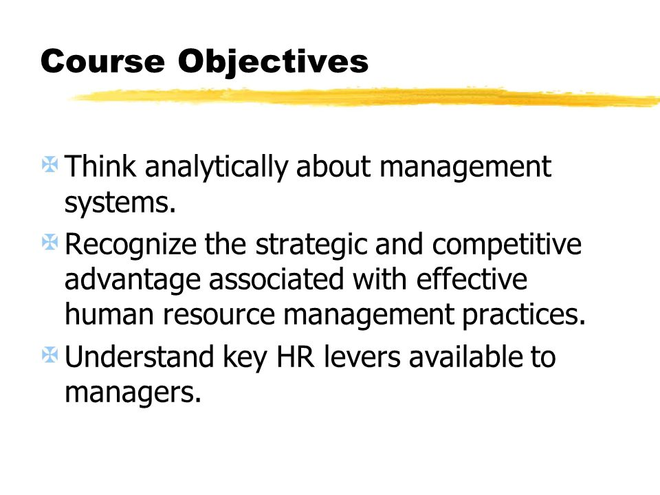 Course Objectives Think analytically about management systems.