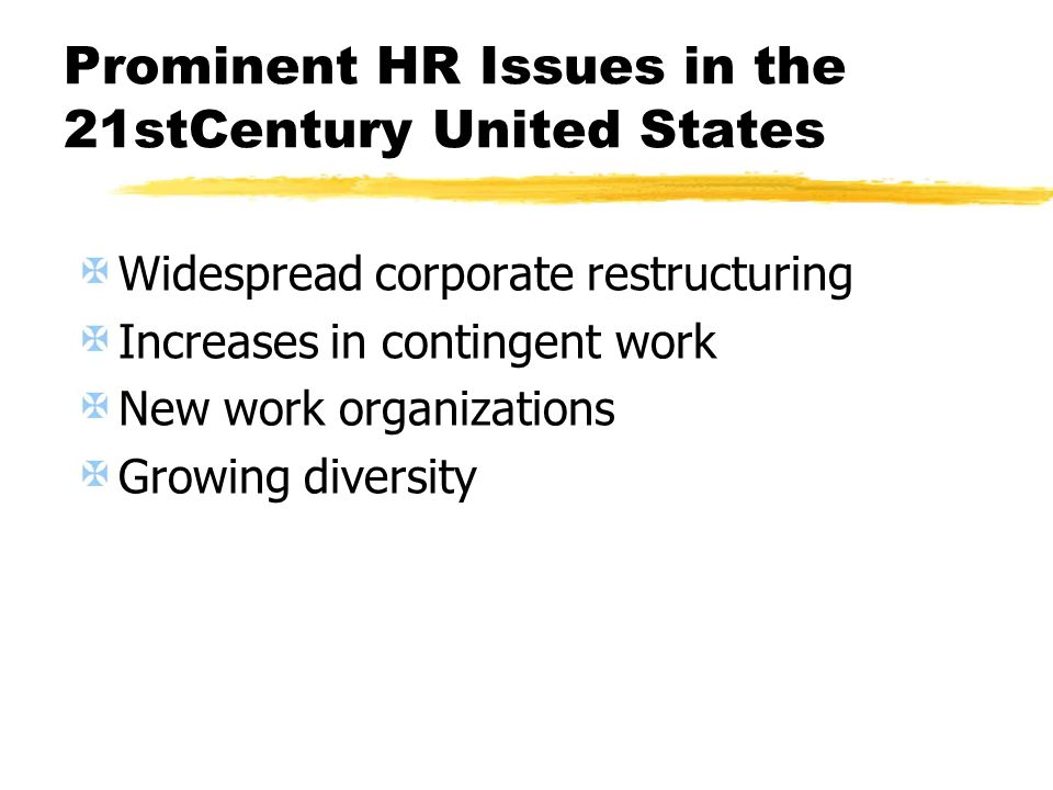 Prominent HR Issues in the 21stCentury United States