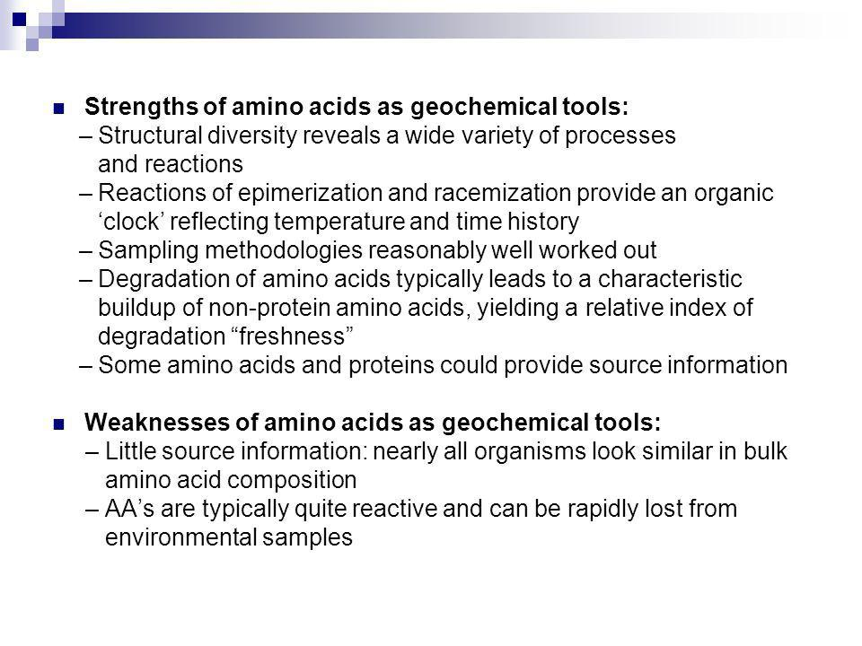 Strengths of amino acids as geochemical tools: