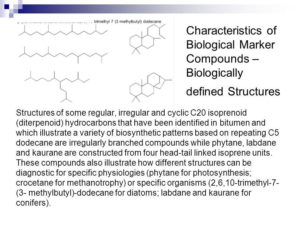 Characteristics of Biological Marker Compounds –Biologically defined Structures