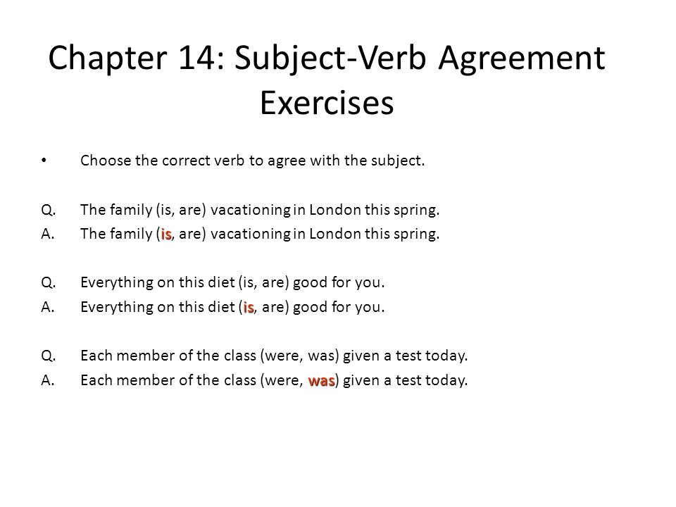Chapter 14 Subjectverb Agreement Ppt Video Online Download. Chapter 14 Subjectverb Agreement Exercises. Worksheet. Subject Verb Agreement Worksheet At Mspartners.co
