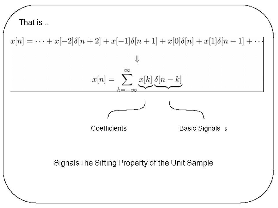 SignalsThe Sifting Property of the Unit Sample