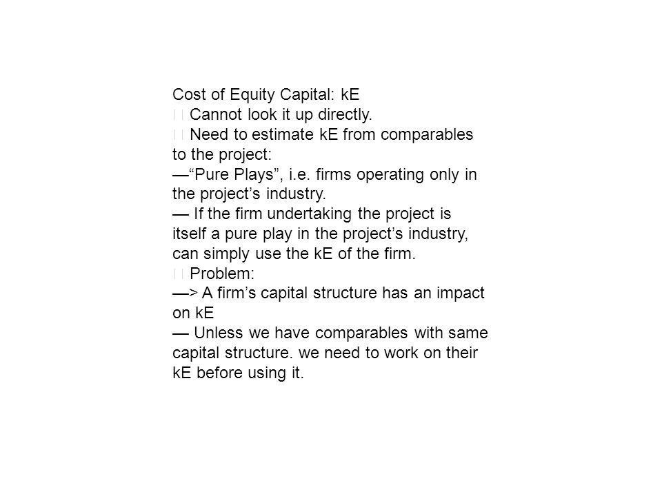 Cost of Equity Capital: kE