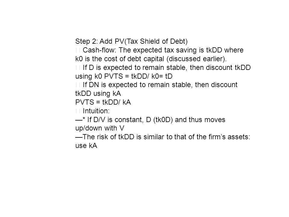 Step 2: Add PV(Tax Shield of Debt)