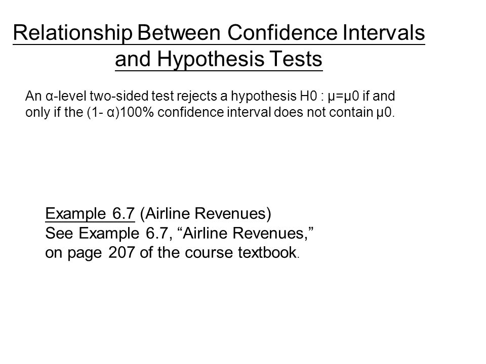 relationship between confidence intervals and hypothesis tests