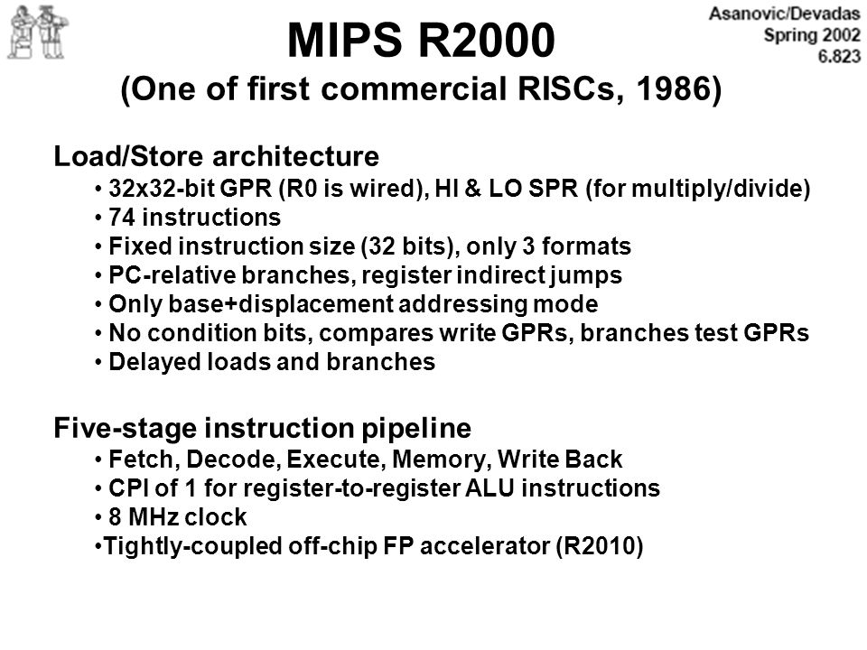 MIPS R2000 (One of first commercial RISCs, 1986)