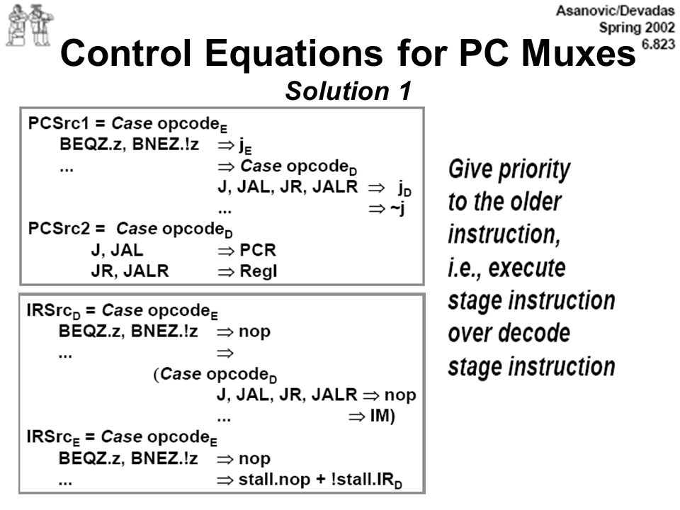 Control Equations for PC Muxes Solution 1