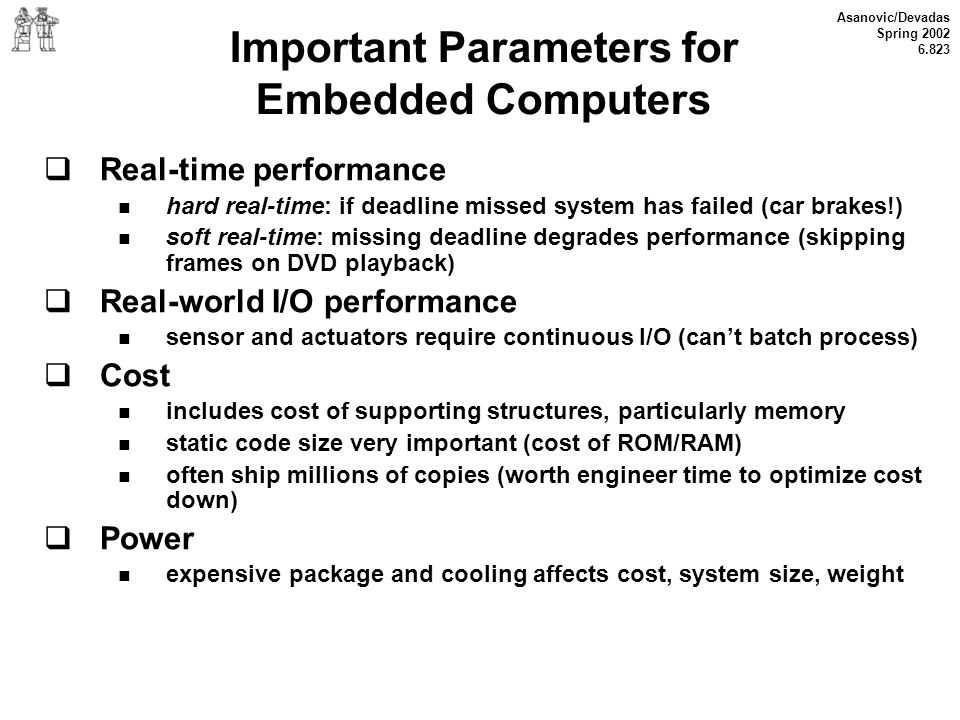 Important Parameters for Embedded Computers