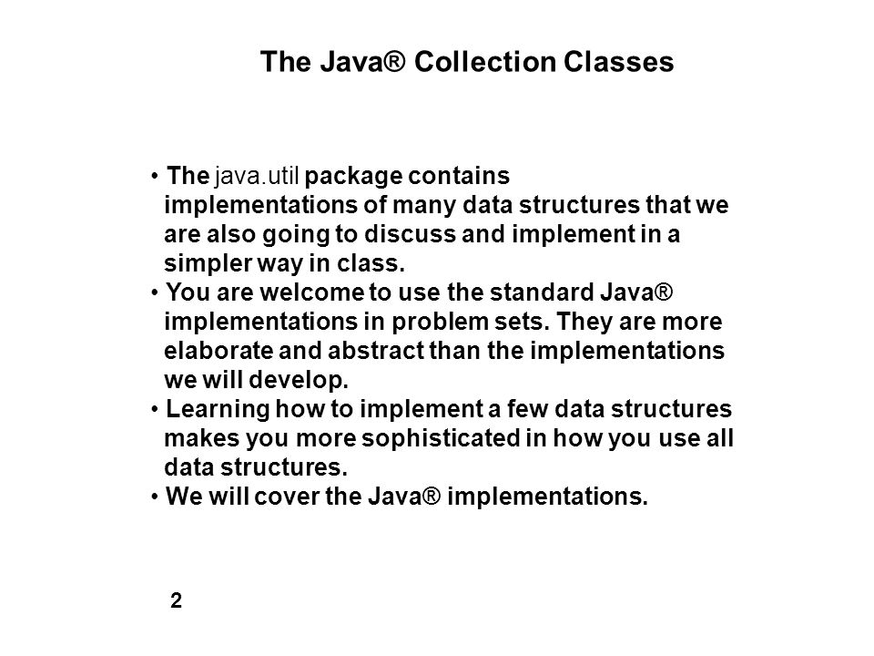 The Java® Collection Classes