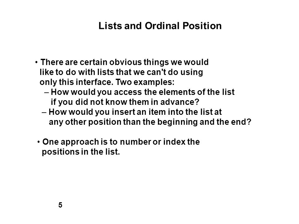 Lists and Ordinal Position