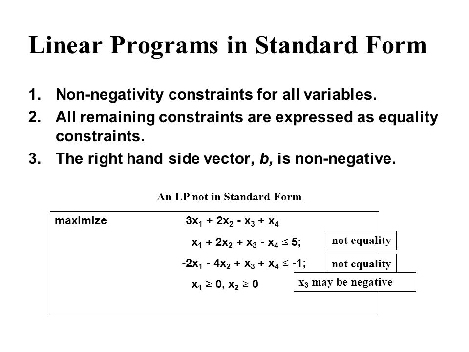 February 14 2002 Putting Linear Programs Into Standard Form Ppt