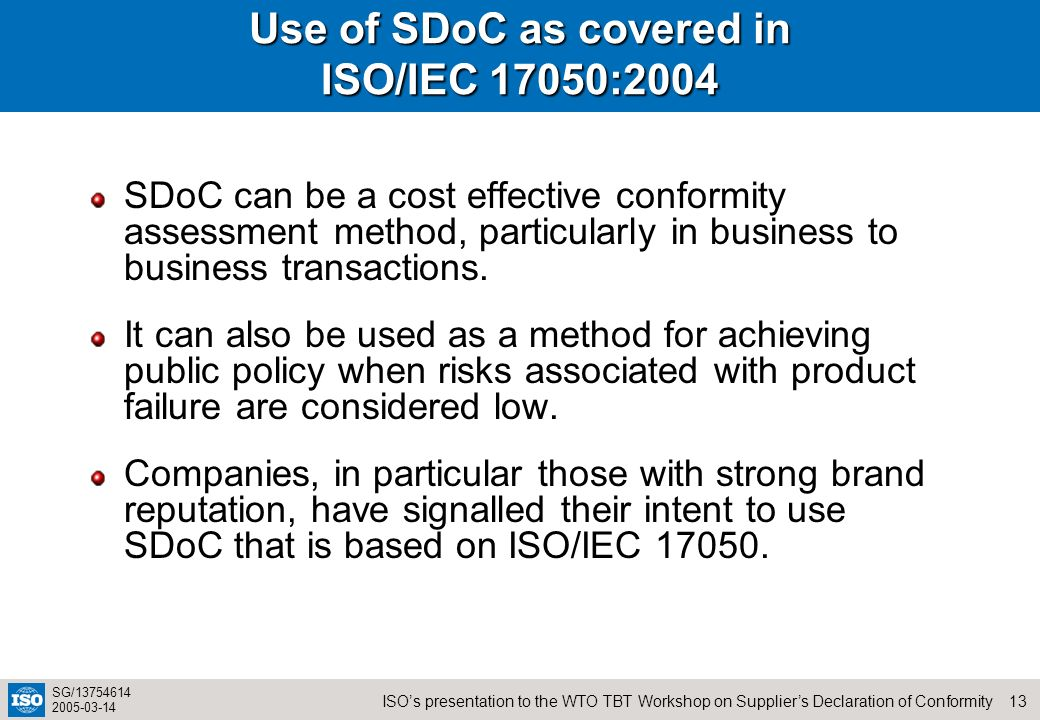 Use of SDoC as covered in ISO/IEC 17050:2004