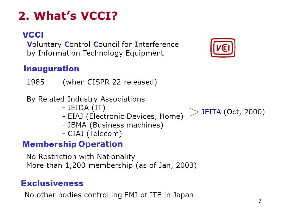2. What's VCCI VCCI Inauguration Membership Operation Exclusiveness