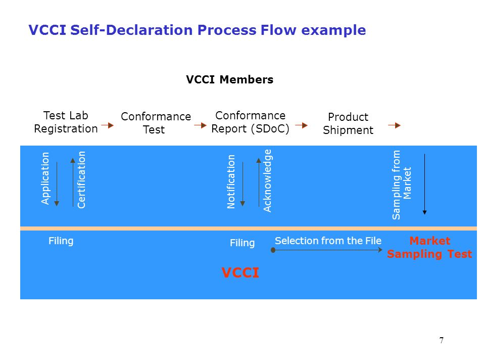 VCCI Self-Declaration Process Flow example