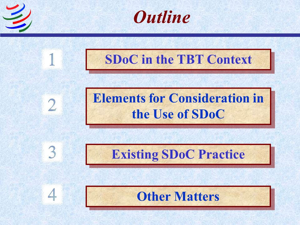 Elements for Consideration in the Use of SDoC Existing SDoC Practice