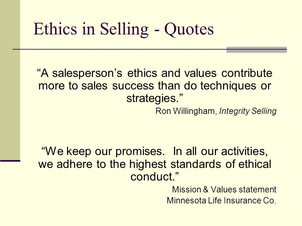 ethics in selling quotes ppt download
