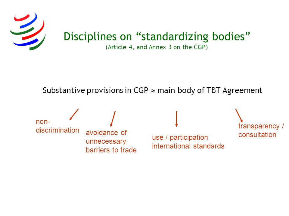 Disciplines on standardizing bodies (Article 4, and Annex 3 on the CGP)