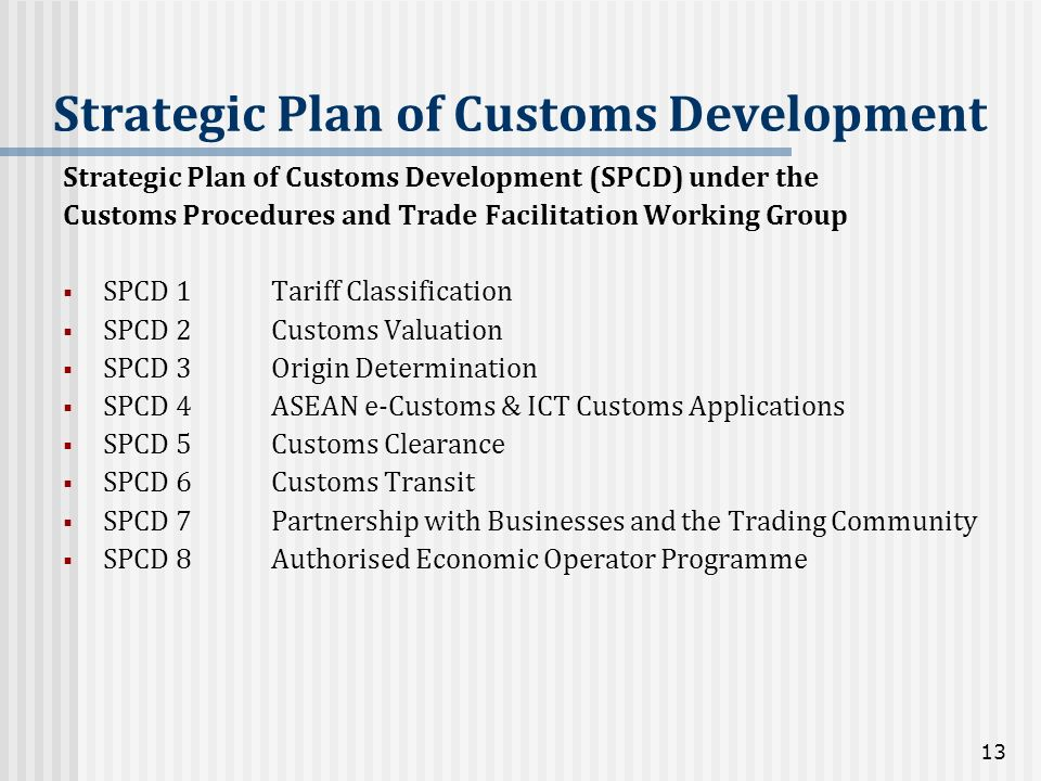 Strategic Plan of Customs Development