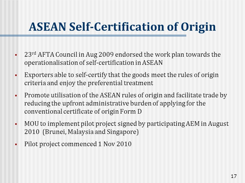 ASEAN Self-Certification of Origin