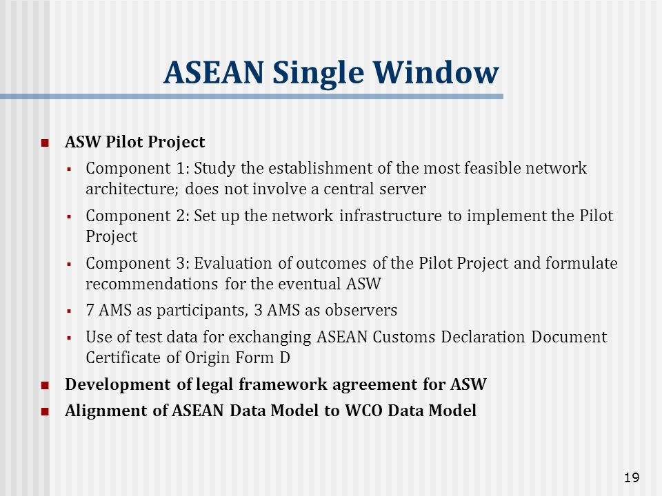 ASEAN Single Window ASW Pilot Project