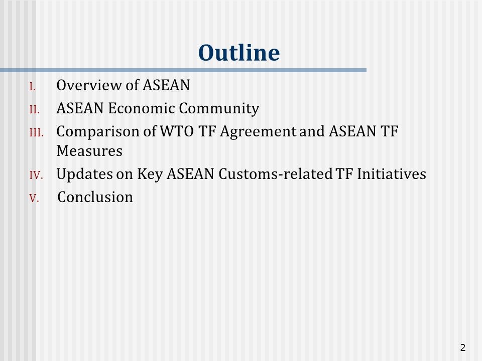 Outline Overview of ASEAN ASEAN Economic Community