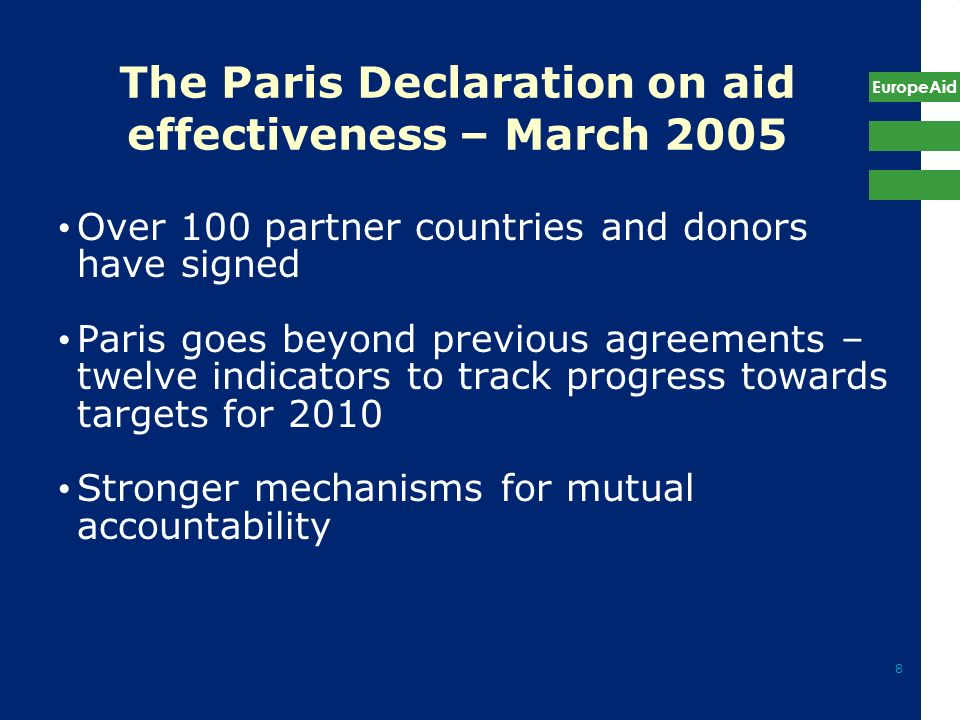The Paris Declaration on aid effectiveness – March 2005