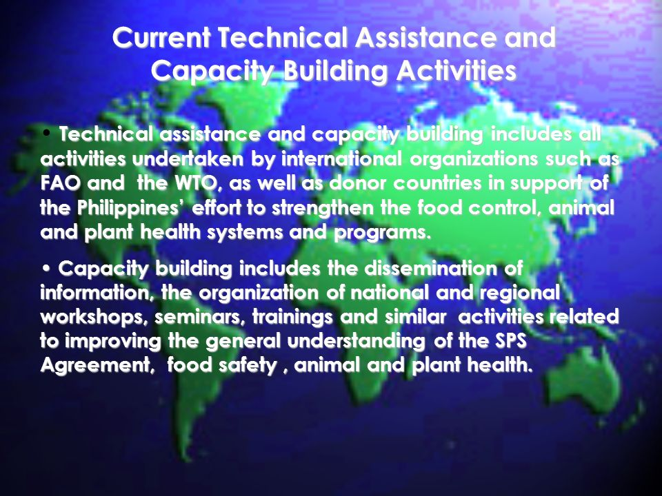 Current Technical Assistance and Capacity Building Activities